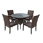 Rio (Armed) 4 Chairs And Small Round Dining Table Set in Chocolate Mix