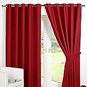 Dreamscene Ring Top Lined Pair Eyelet Thermal Blackout Curtains - Red - Red