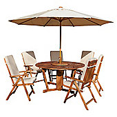 Salcombe 6-seat Garden Furniture Set with Parasol & Lazy Susan