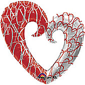 """XO Heart Valentines Balloon - 32"""" Foil (each)"""