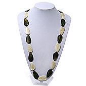 Long Dark Olive/Pale Green Acrylic Necklace - 88cm Length
