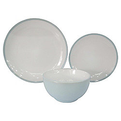 Tesco Two Tone Stoneware 12 Piece, 4 Person Dinner Set, Duck Egg