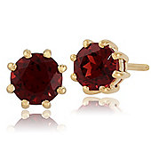 Gemondo 9ct Yellow Gold 0.90ct Garnet 8 Claw Set Round Stud Earrings 5.00mm