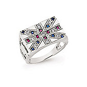 Jewelco London Rhodium Coated Sterling Silver White,Blue & Red CZ Gents Union Flag Signet Ring Size