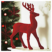 Tesco Red Flocked Reindeer Christmas Decoration