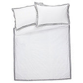 Tesco Oxford Stripe Duvet Cover And Pillowcase Set, Black, King Size