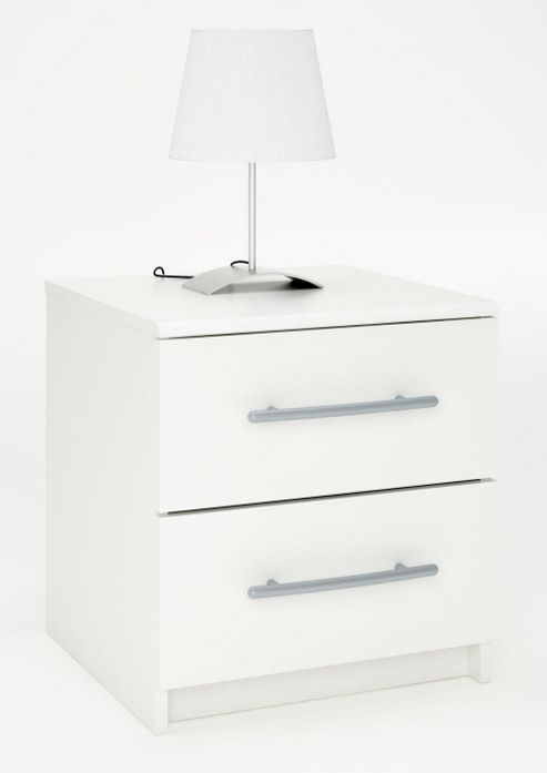 Altruna Washington 2 Drawer Bedside Table - White
