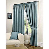 Willow Ready Made Curtains Pair, 66 x 72 Sea Blue Colour, Modern Designer Look Pencil pleated curtains