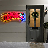 Merry Christmas LED Outdoor Rope Light Silhouette with Tinsel