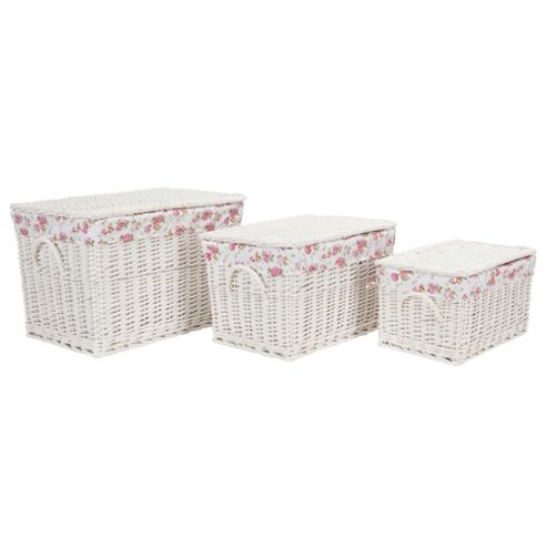 Tesco White Wicker Lined Lidded Trunks 3Pk