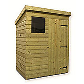 6ft x 5ft Pressure Treated T&G Pent Shed + 1 Window + Single Door