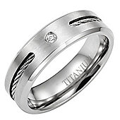 Willis Judd New 7mm Mens Cz Titanium Ring Engraved With I Love You