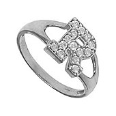 Silver Cubic Zirconia Identity ID Initial Signet Ring Letter R