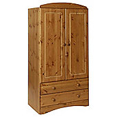 Scandi Pine Two Door Wardrobe with Two Drawers