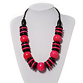 Chunky Beaded Cotton Cord Necklace (Bright Pink & Black)