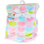 First Steps Supersoft Fleece Baby Cot Blanket Hearts 75x100cm