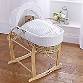 Clair de Lune Dimple Palm Moses Basket (White)