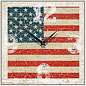 Smith & Taylor USA Flag Vintage Square Wall Clock