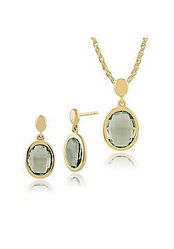 Gemondo 9ct Yellow Gold Mint Green Quartz Luminosity Drop Earrings & 45cm Necklace Set