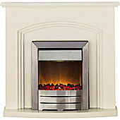 Adam Truro Fireplace Suite in Cream with Colorado Electric Fire in Brushed Steel