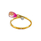 QP Jewellers Diamond & Pink Topaz Raindrop Ring in 14K Gold