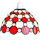 Loxton Lighting Tiffany Bistro 1 Light Dome Large Circles Shade - Beige / Red
