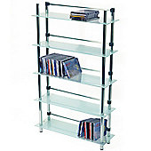 Techstyle 5 Tier DVD / CD / Media Storage Shelves - Frosted