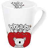 Könitz Animal Globetrotter - Koala Mug in Red (Set of 4)