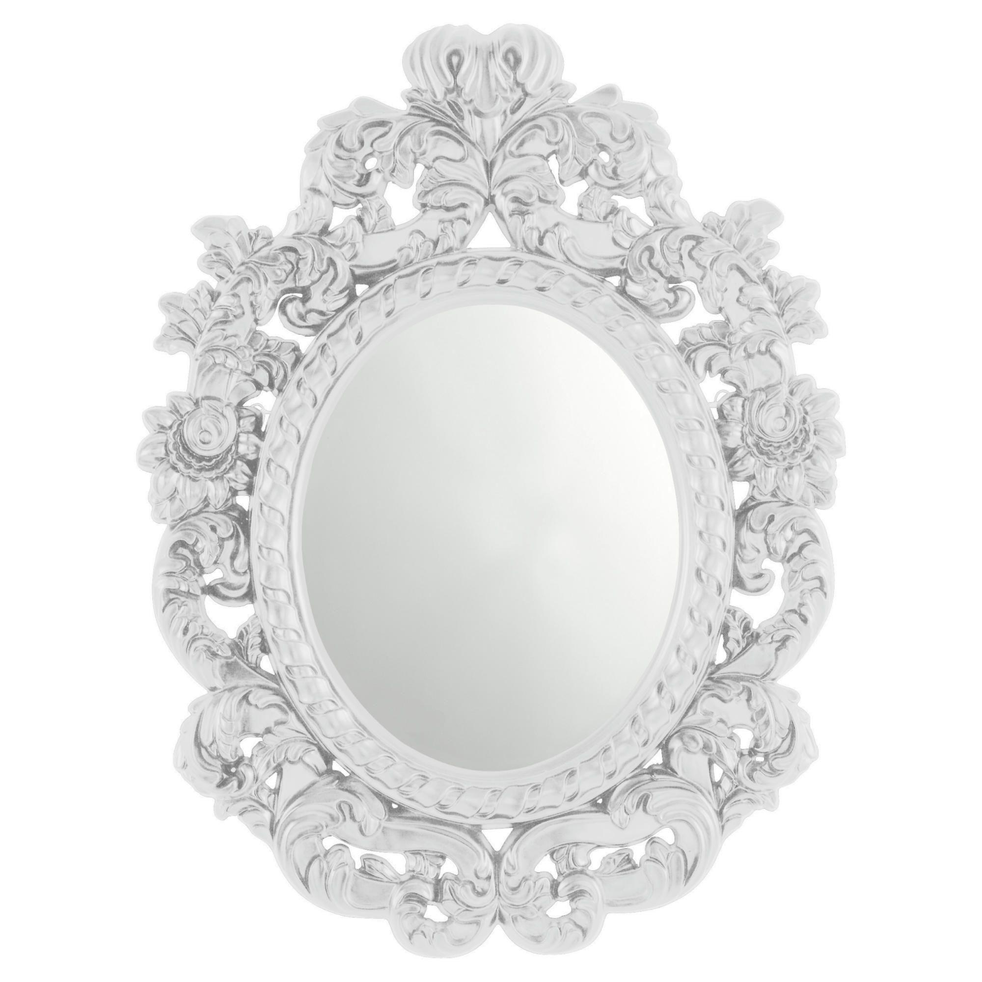 Wilko baroque mirror silver 87x62cm - Myshop White Baroque Mirror Baroque Style Large Silver
