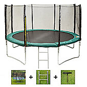 Up and About 14ft Supernova Green Trampoline Package with Free Ladder, Weather Cover and Building Tool