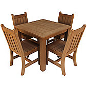 Outdoor Table And Chair Set 100% Recyclable Plastic Dark Teak Colour