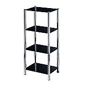 Premier Housewares Four Tier Shelf Unit with Black Glass Shelves