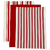 Tesco Red and White Weave Tea Towels, 3 Pack