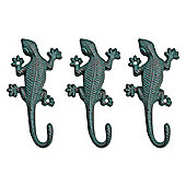 Set of Three Wall Mountable Verdigris Cast Iron Lizard Accessory Hook Garden Ornaments