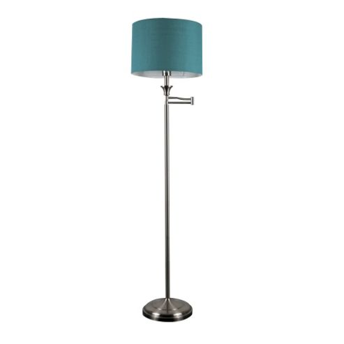 Buy Sinatra Swing Arm Floor Lamp Brushed Chrome Teal Shade From Our Fl