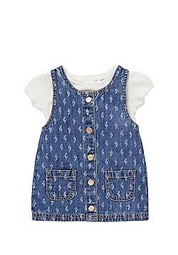 F&F Denim Pinafore Dress and T-Shirt Set - Blue & Cream