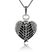 Gemondo Sterling Silver Marcasite & Black Enamel Winged Heart Locket 45cm Necklace