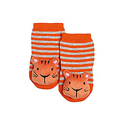 F&F Tiger Rattle Socks 00 - 06 months Orange
