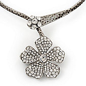 Clear Swarovski Crystal 'Flower' Pendant Hammered Collar Necklace In Burn Silver Finish - 38cm Length