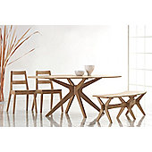 Home Zone Malmo 4 Piece Solid Oak Dining Set