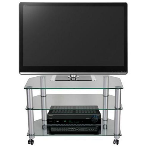 STUK 1401 Mellan Clear Glass TV Stand with Castors