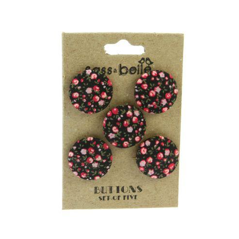 Vintage Floral Buttons - Black Ditsy