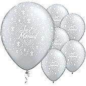 11' Just Married Flowers Around Silver (6pk)