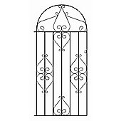 Wrought Iron Style Metal Scroll Tall Bow Top Side Garden Gate 91cm GAP x 183cm HIGH