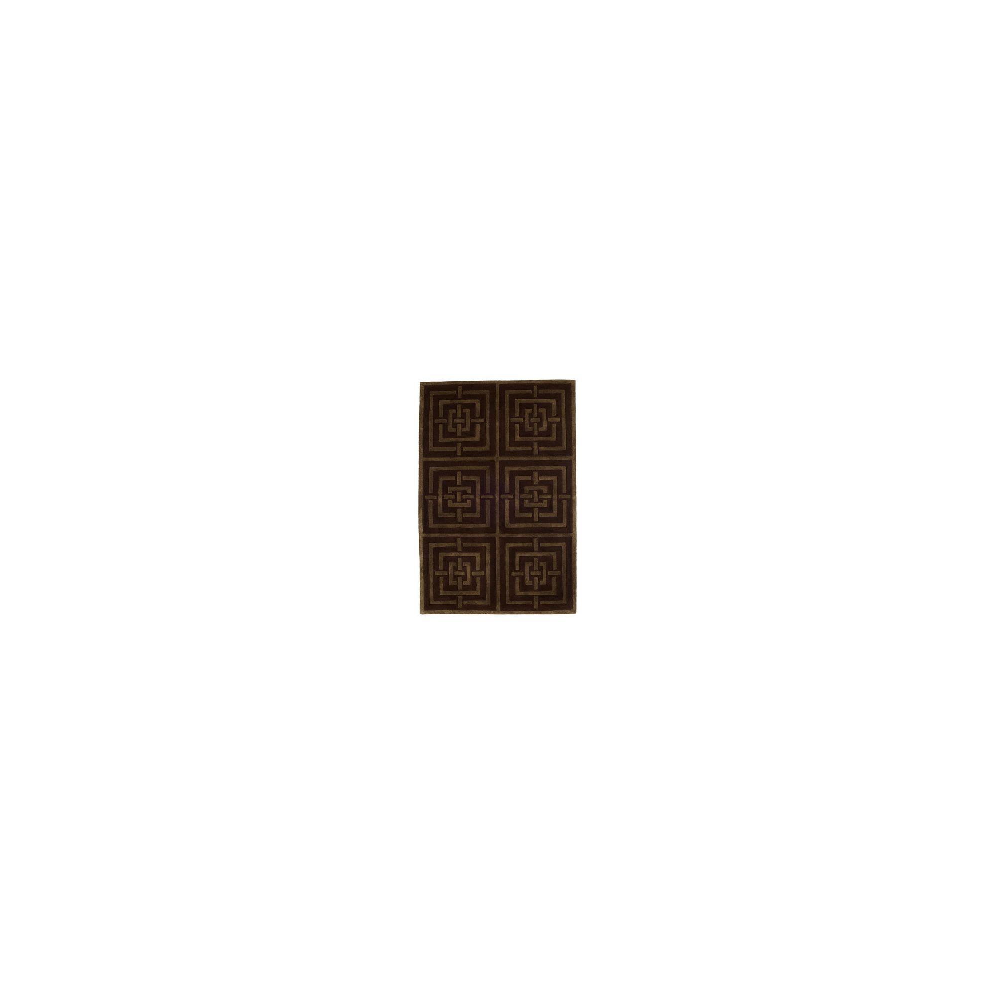 Husain International Maze Brown/Orange Tufted Rug - 180cm x 120cm (5 ft 11 in x 3 ft 11 in)