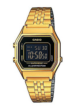 Casio Unisex Gold Ion-plated Alarm Day & Date LED Light Watch LA680WEGA-1BER