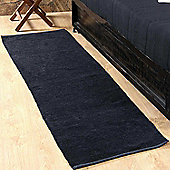 Homescapes Chenille Plain Cotton Rug Runner Black, 66 x 200 cm