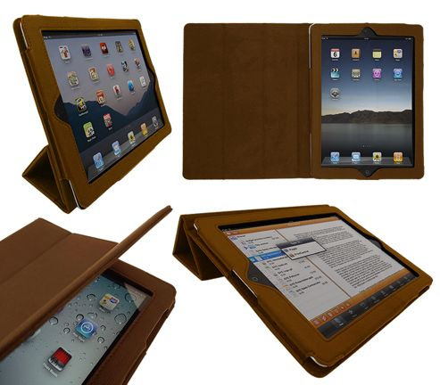 iTALKonline 19338 PadWear Executive Tan Wallet Case With TRI-FOLD SMART TILT For Apple iPad 2 (Wi-Fi and 3G)