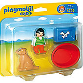 Playmobil 1.2.3 Girl With Dog - Playmobil 1-2-3 6796