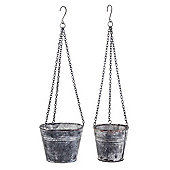 Bordeaux Set of Two Grey Metal Hanging Bucket Garden Planters